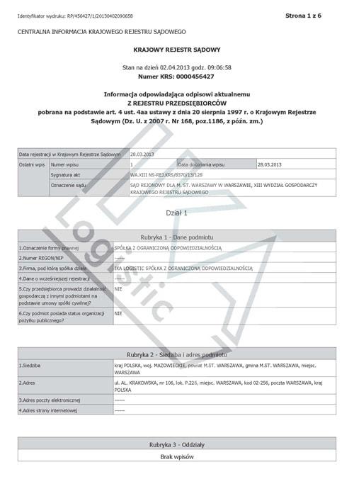 KRS - Krajowy Rejestr Sądowy